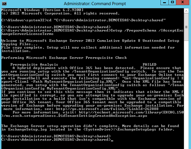 Prepare Schema for Exchange 2013 Migration while having Hybrid Integration with Exchange 2010