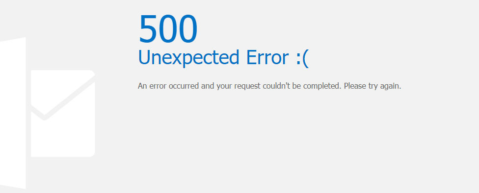 Exchange 2013 ECP (Admin Panel Page) Fails with 500 Unexpected error after running Hybrid Configuration Wizard with Office 365